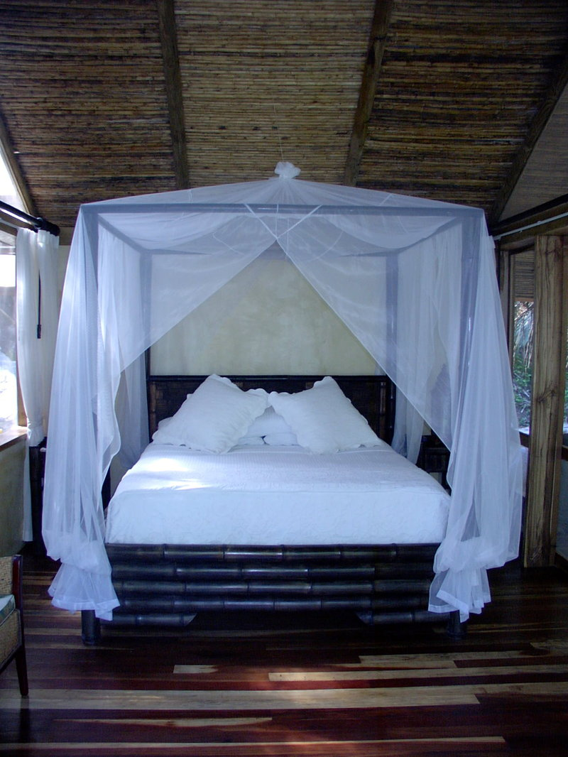 Bamboo bed with netting